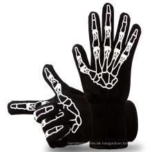 TE09 OEM akzeptiert Grüne Farbe Hitzebeständige Ofen Handschuhe BBQ Handschuhe Zum Kochen, Grillen, Backen