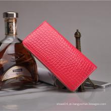 Barato moda mulheres dinheiro clip couro carteira de cartão de crédito