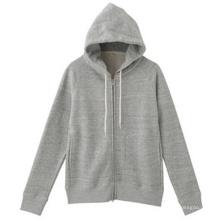 Sweat à capuche gris en molleton avec fermeture à glissière sur le devant