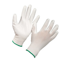 White PU Palm Coated Polyester Shell Hand Protective Work Gloves