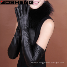 Ladies Winter Full Finger PU Leather Long Arm Glove