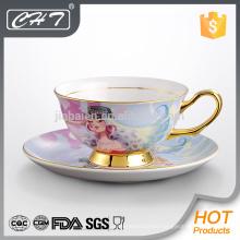 Elegante taza de té de cerámica y platillo al por mayor