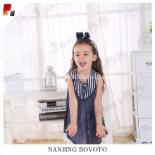 Navy blue high quality shoulder stripes comfortable boutiques children dress