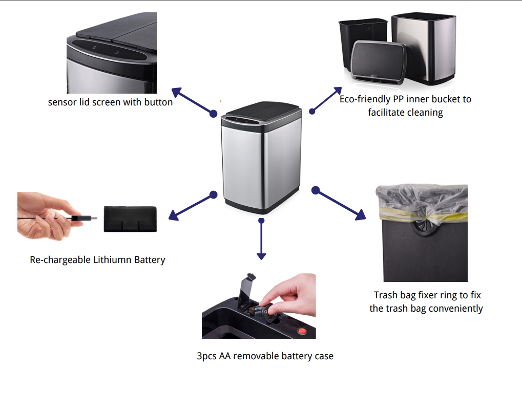 Butterfly Smart sensor tarsh can with removeable lid