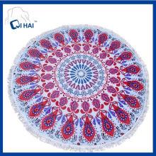 100% algodão rosa pavão toalha de praia redonda (qhsd5546)