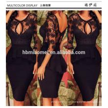 Cóctel de manga larga para mujer Slim Mini Club Wear Vestido de encaje negro Escote en v sin espalda Lápiz Midi Bodycon Vestido de noche sexy Mujer