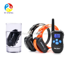 Waterproof Electric Dog Training Collar 300M Range Rechargeable Shock+Vibra+Electric Dog Collar Trainer Blue backlight screen