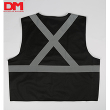 Colete de segurança de alta visibilidade preto X padrão de volta