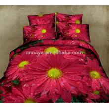 100% tecido de algodão têxteis conjunto de folhas de cama 3D Disperse impresso floral