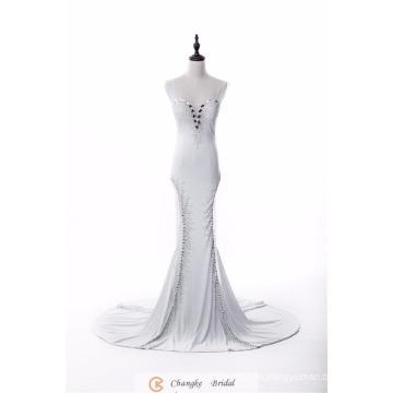 Elegante formal vestido de noche correas Crystal Beads Sirena proveedores 2017