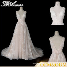 Tiamero peach color party wine deep V backless wedding gowns evening dress ball
