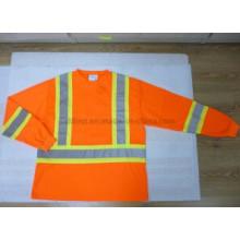 Безопасности рубашка поло с предупреждением полосы и с длинным рукавом