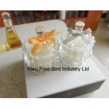 Bougie en verre parfumée de luxe avec couvercle assorti exquis