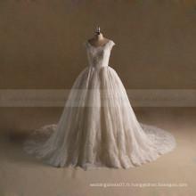 Robe de mariée en perles en dentelle à la robe de robe de mariée magnifique avec train long