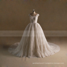 Wonderful Queen Ball Gown Lace Beaded Wedding Dress With Long Train