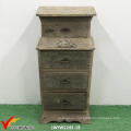 Floral Carved 4 Drawers Wood Filing Cabinet