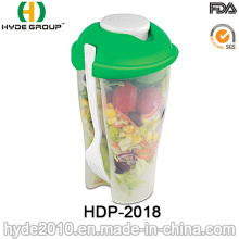 High Quality Plastic Salad Shaker Cup with Fork (HDP-2018)