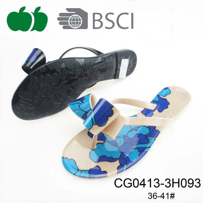Latest Design Lady Flat Beach Pvc Flip Flops