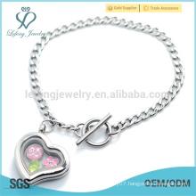 Simple design plain silver heart chain bracelet,316l custom open locket bracelet