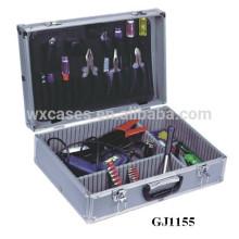 Pálete de ferramenta prata alumínio ferramenta caso com rebatível & compartimentos ajustáveis dentro
