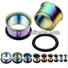 Anodizado arco iris piercing oído túnel de joyería