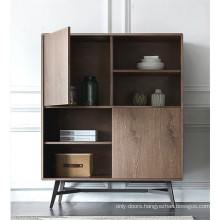 Wooden bookcase with doors