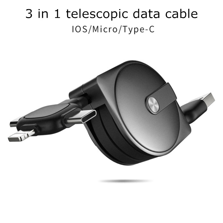 3 in 1 telescopic data cable