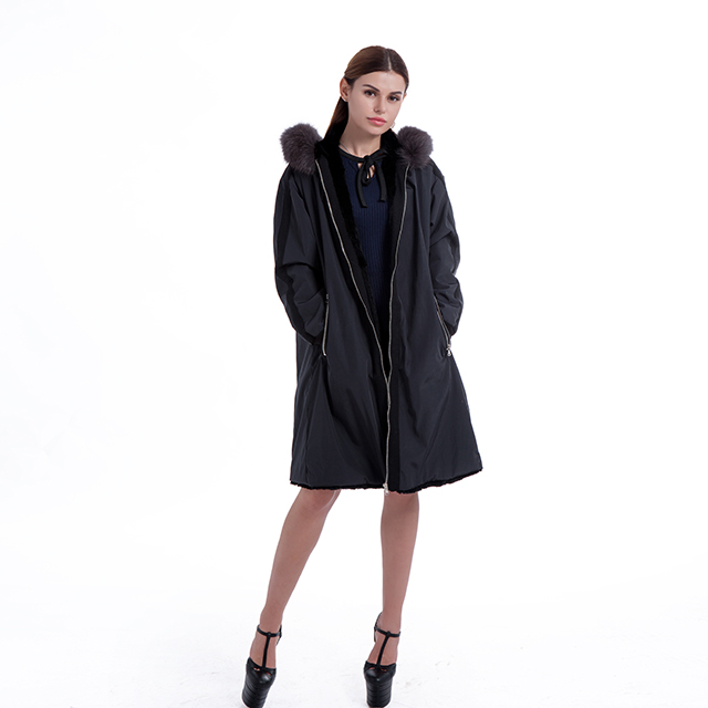 Black rabbit hair coat