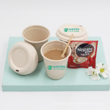 China Factory Wholesale Disposable Biodegradable Sugarcane Bagasse Coffee Travel Mug Cups With Lid