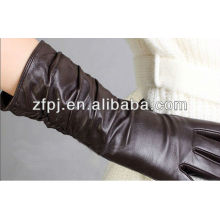 2014 heiße Verkaufsfrauen Winter lange braune lederne Handschuhe