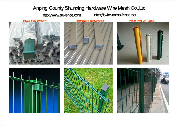 double wire mesh fence post