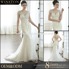 high-quality Cap sleeve beads decoration mermaid wedding dress