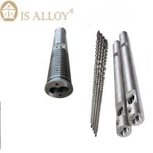 Экструдер для пластика с двумя параллельными шнеками и цилиндром
