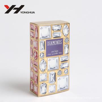 diamond and gem style biling biling shining pink perfume paper box