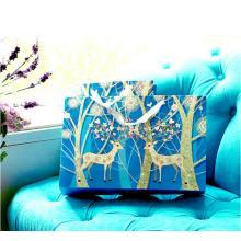 European Style Blue Christmas Deer Gift Paper Bags