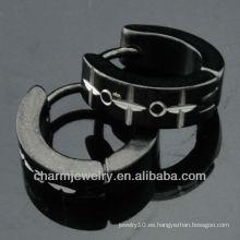 Los pendientes calientes HE-102 del negro de Huggie de los pendientes del clip de la joyería de la manera de la venta