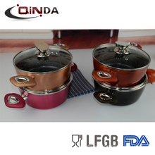 8pcs colorful forged induction bottom marble coating cookware sets