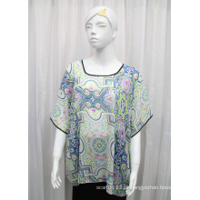 Senhora moda impresso poliéster seda chiffon t-shirt (yky2218)