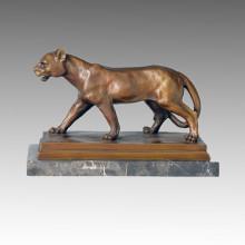Animal Bronze Sculpture Lion Carving Deco Brass Statue Tpal-089