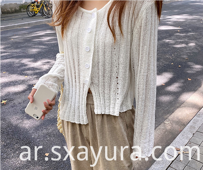 All-match short long-sleeved knitted cardigan