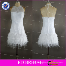 Real Pictures Sexy Sleeveless Halter Zipper Back Short White Feather Sheath Cocktail Dress