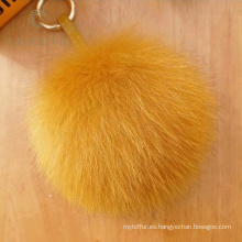 Venta caliente fox pom pom piel bola llavero diseñador
