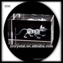 K9 3D Laser Subsurface Etched Rat Inside Crystal Block