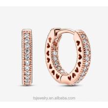 Factory direct rose gold eternal heart-shaped hollow zircon circle earrings S925 pure silver earrings