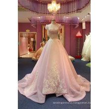 Pink High Collar Lace Organza Evening Dress Ladies Dress