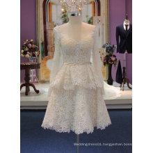 Beach Knee Length Lace Sheer Boat Neckline Champagne Wedding Dress