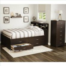Conjunto de cômoda de armário de móveis de quarto de crianças de 3 peças com chocolate (HF-HH49)