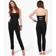 2015 Sexy Black 100%Chiffon Jumpsuit for Women and Ladies OEM