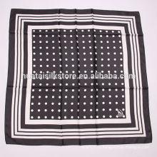 2014 последний 100% шелковый черный шарф в горошек