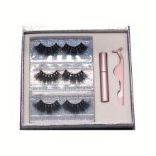 SL010H Hitomi Mink Eyelash Wholesale Price soft natural mink eyelashes Fluffy 25mm Magnetic Eyelashes with Eyeliner and tweezers